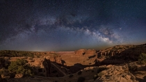 Waited on the edge of the cliff for a few hours waiting for the moon to set enough to be able to see both the canyon and the stars Canyonlands Utah