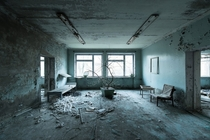 Waiting room in the remains of the Pripyat hospital Ukraine