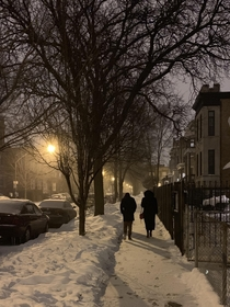 Walking down a Chicago street during the arctic blast