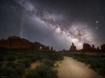Walking to the Windows at Night - Arches National Park Utah