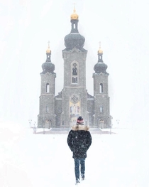 Walking up to this abandoned church during a snow storm Note It is actually abandoned garycphoto
