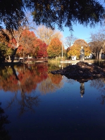 Wamego KS - Loved the reflection on the water had to take a picture in this secret little park  OC