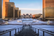 Warm sunlight illuminating the Empire State Plaza in Albany NY