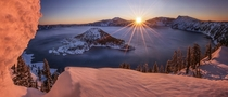 Warmth of Winter Crater Lake Oregon by Sapna Reddy Photography
