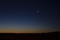 Was at work and grabbed this shot of the moon and Venus about an hour before sunrise Plymouth Airport Massachusetts