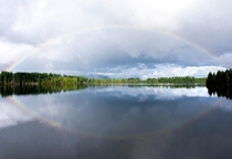 Was greeted by a beautiful Rainbow after a rainy day at a small PNW lake