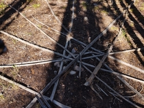 Was hiking deep back in the uinta mountains and found this teepee that had been there long enough that the poles were rotting There was even a pile of firewood right by the doorway I thought this was pretty cool
