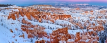 Was tremendously lucky to snap a sunset post blizzard at Bryce Canyon National Park Utah