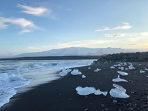 Washed up ice shards at Diamond Beach Iceland