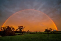 Washington county Illinois rainbow after a storm reflection of sunset OC x