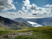 Wast Water from Scafell Pike Lake District England