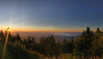 Watching the sun rise at Clingmans Dome trail in The Great Smoky Mountains National Park boarding the Tennessee amp North Carolina state line