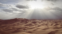 Watching the sunset from the Sahara Desert in Morocco