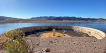 Water clarifying tank submerged for decades emerges from the depths of Lake Mead Las Vegas as the water level drops