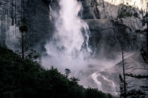 Water crashing down so hard it looks like smoke at Upper Yosemite Fall