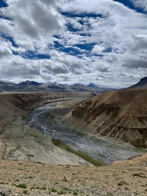 Water from snow capped mountains flowing to make one of the biggest rivers of the country Indus