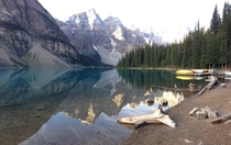Water Like Glass - Morning at Lake Moraine Banff Alberta CA via iPhone