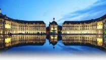 Water mirror at Place de la Bourse in Bordeaux France