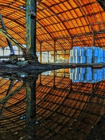 Water reflections in an old train station Leipzig Found on rurbanexploration