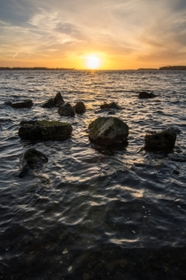 Water rock and sunset Denmark