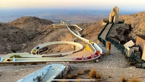 Water slide at Mercure hotel on top of Jebel Hafeet mountain in Al Ain United Arab Emirates