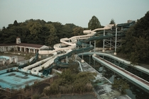 Water slide complex at an abandoned theme park in Japan