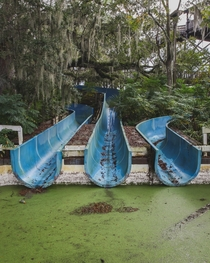 Water slides at an abandoned water park in Florida ocx