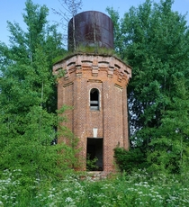 water tower of XIX century country estate of Sherbakovi Aleshkino Stupino region Russia