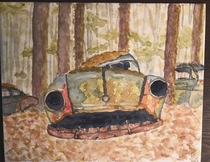 Watercolor I did of a picture I found from the  year old traffic jam in a Belgian forest- neat stuff