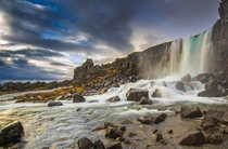 Waterfall at ingvellir national park Iceland