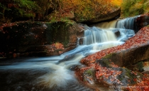 Waterfall in Saint-Herbot Brittany France by Romuald Effray