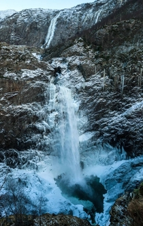 Waterfall in wintertime Mnafossen Norway