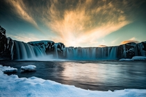 Waterfall of Gods during sunset in late winter - Goafoss in Iceland   Instagram glacionaut