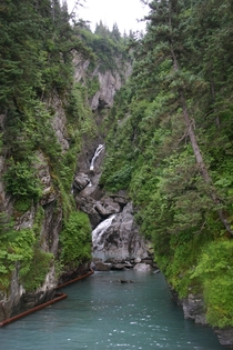 Waterfall on Allison Point Valdez Alaska  by Michael S Nuckols