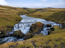 Waterfall on Fimmvorduhals Trailhead Iceland