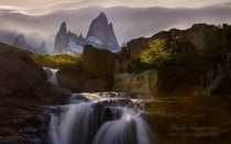 Waterfall on the creek on the Arroyo del Salto background FitzRoy massif in Argentine Patagonia  photo by Mike Reyfman