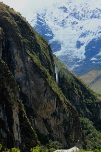Waterfall on the Salkantay Trek Peru  x