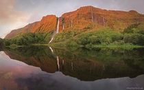 Waterfalls at Sunset Flores Island Azores