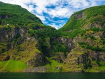 Waterfalls in the Aurlandsfjord Norway