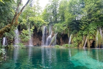 Waterfalls in the Plitvice Lakes National Park Croatia