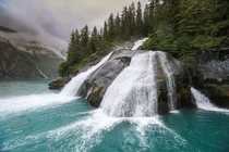 Waterfalls in the Tracy Arm Fjord Alaska