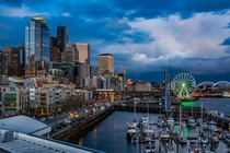 Waterfront downtown Seattle The marina and Great Wheel are visible as well as the Clink in the background