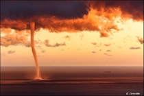 Waterspout at Sunset- Gulf of Genova Italy  photo by Emanuele Crovetto