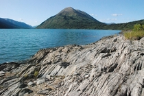 Wave-like rock formation Kenai Peninsula Alaska  x