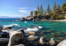 Waves breaking over Secret Cove Lake Tahoe
