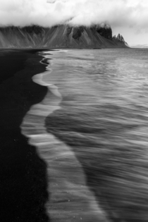 Waves Leading into Vestrahorn Iceland