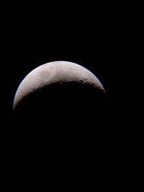 Waxing Crescent Moon I photographed yesterday with my  inch reflector