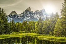 We dont get many Teton pics in here Heres Schwabachers Landing as the sun dips behind Teewinot Peak x