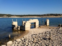We found this abandoned s house that has been submerged in Lake Travis Texas which has been draining recently