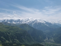 We had to walk  hours climbing  km height but got the best panorama we ever seen Mont blanc France